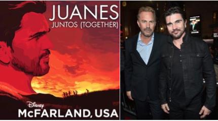 "-Juanes junto a Kevin Costner, antes de entrar a la premiere de ""McFarland, USA""enHollywood"