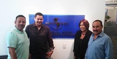Sergio Pérez, VP Marketing Fonovisa-Disa/Saúl Plata, Director General (dueño de Banda Los Sebastianes), Martha Ledezma, Directora de MarketingFonovisa- Disa/ México/USA,Antonio Silva Director General Fonovisa-Disa/ México y USA