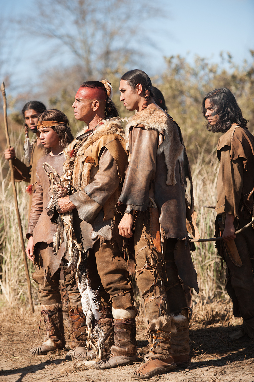 "Raoul Trujillo as Massasoit, front center, in National Geographic Channel's two-night movie event ""Saints & Strangers,"" premiering Nov. 22-23, 9/8c.