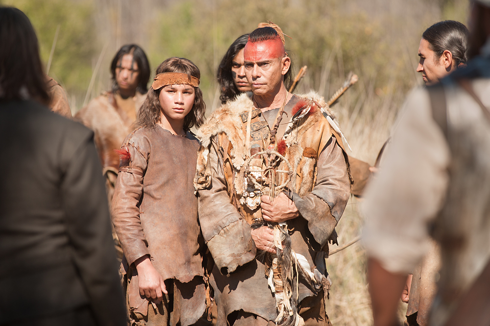"Raoul Trujillo as Massasoit, center, in National Geographic Channel's two-night movie event ""Saints & Strangers,"" premiering Nov. 22-23, 9/8c.