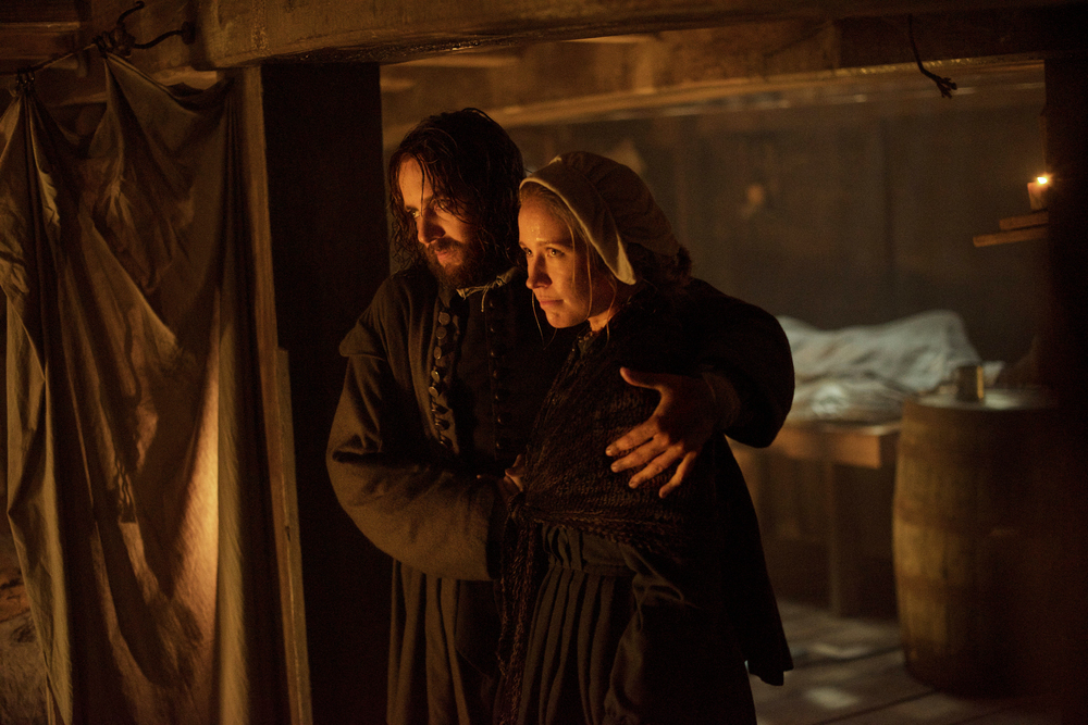 "Vincent Kartheiser as William Bradford, left, and Anna Camp as his wife Dorothy Bradford in National Geographic Channel's two-night movie event ""Saints & Strangers,"" premiering Nov. 22-23, 9/8c.