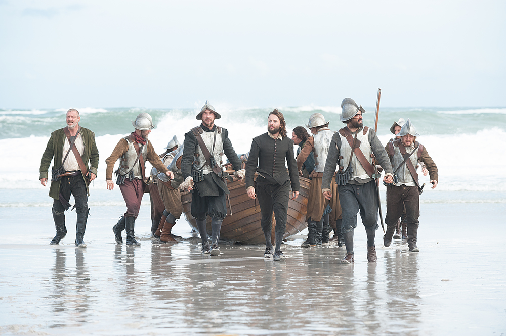 "Vincent Kartheiser as William Bradford, center, in National Geographic Channel's two-night movie event ""Saints & Strangers,"" premiering Nov. 22-23, 9/8c.  William Bradford is the colony's moral compass. He would eventually serve as long-time governor of Plymouth Colony. 