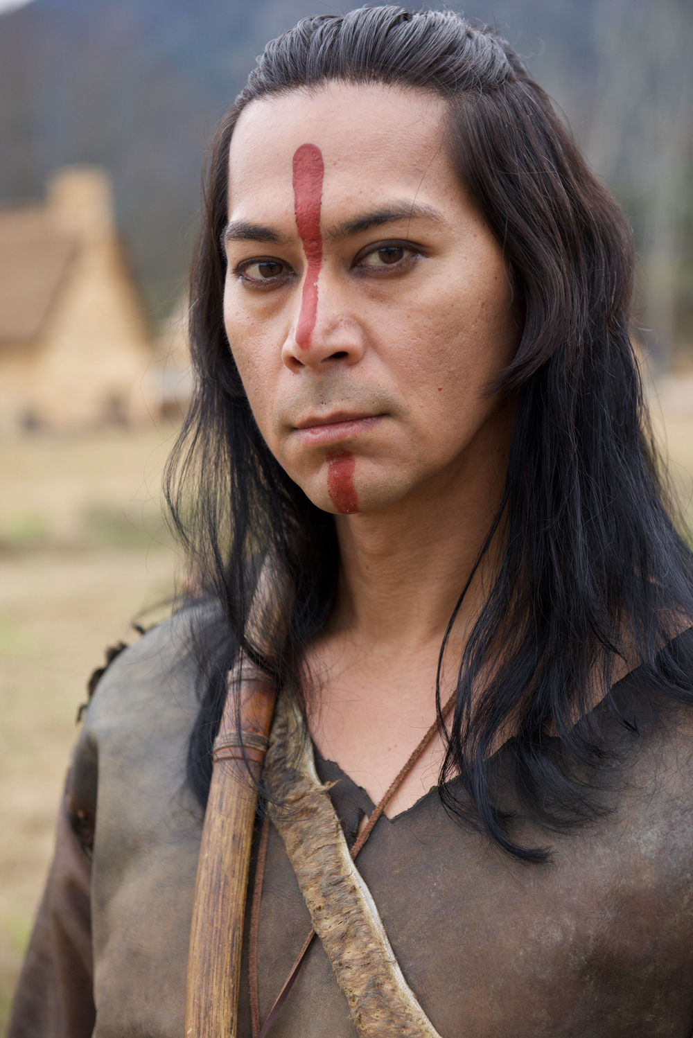"""Kalani Queypo as Squanto in National Geographic Channel's two-night movie event """"Saints & Strangers,"""" premiering Nov. 22-23, 9/8c.  Squanto is a former captive and slave of English explorers, who has crossed the Atlantic four times and acts as a translator and negotiator between Massasoit and the people of the Plymouth Colony. (photo credit:  National Geographic Channels/David Bloomer)"""
