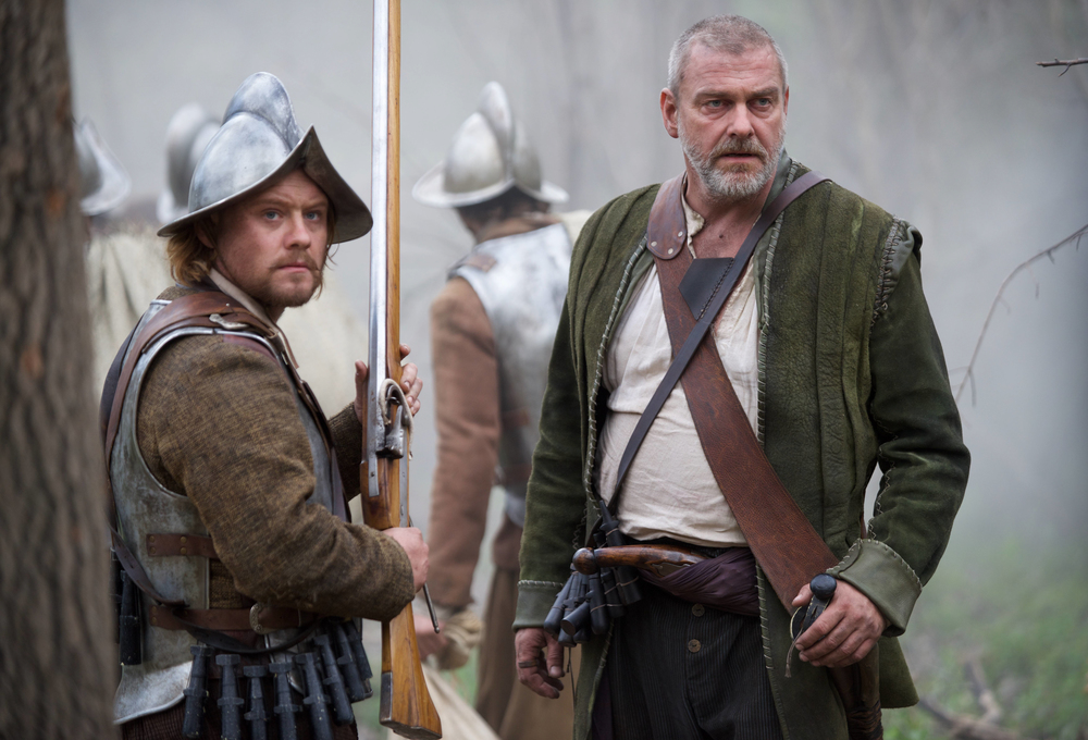 "Michael Jibson as Myles Standish, left, and Ray Stevenson as Stephen Hopkins in National Geographic Channel's two-night movie event ""Saints & Strangers,"" premiering Nov. 22-23, 9/8c.