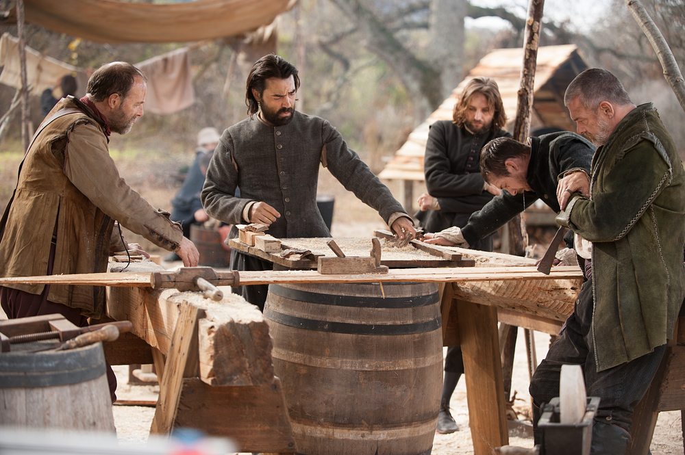 "(Left to right):  Brian F. O'Byrne as John Billington, Ron Livingston as John Carver, Vincent Kartheiser as William Bradford, Barry Sloane as Edward Winslow and Ray Stevenson as Stephen Hopkins in National Geographic Channel's two-night movie event ""Saints & Strangers,"" premiering Nov. 22-23, 9/8c.