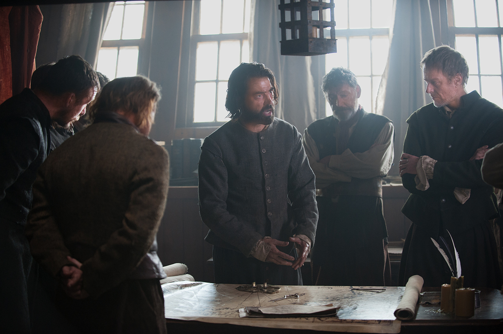 "Ron Livingston as John Carver, center, in National Geographic Channel's two-night movie event ""Saints & Strangers,"" premiering Nov. 22-23, 9/8c.  John Carver is the initial leader of the Pilgrims and the first governor of Plymouth Colony. 