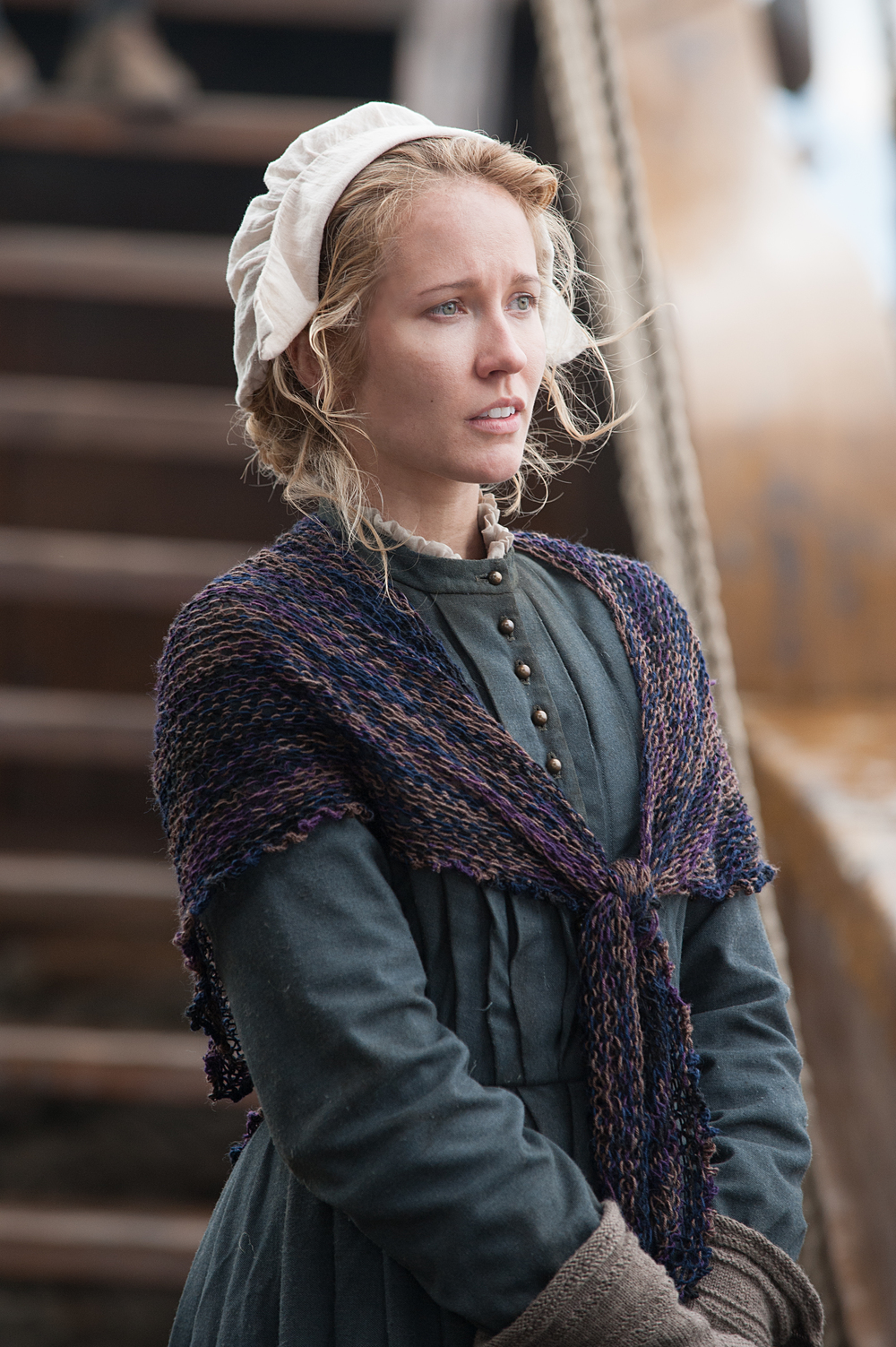 """Anna Camp as Dorothy Bradford in National Geographic Channel's two-night movie event """"Saints & Strangers,"""" premiering Nov. 22-23, 9/8c.  Dorothy Bradford is the wife of William Bradford. She is still haunted by their decision to leave their 3-year-old son behind for the journey to the New World. (photo credit:  National Geographic Channels/David Bloomer)"""