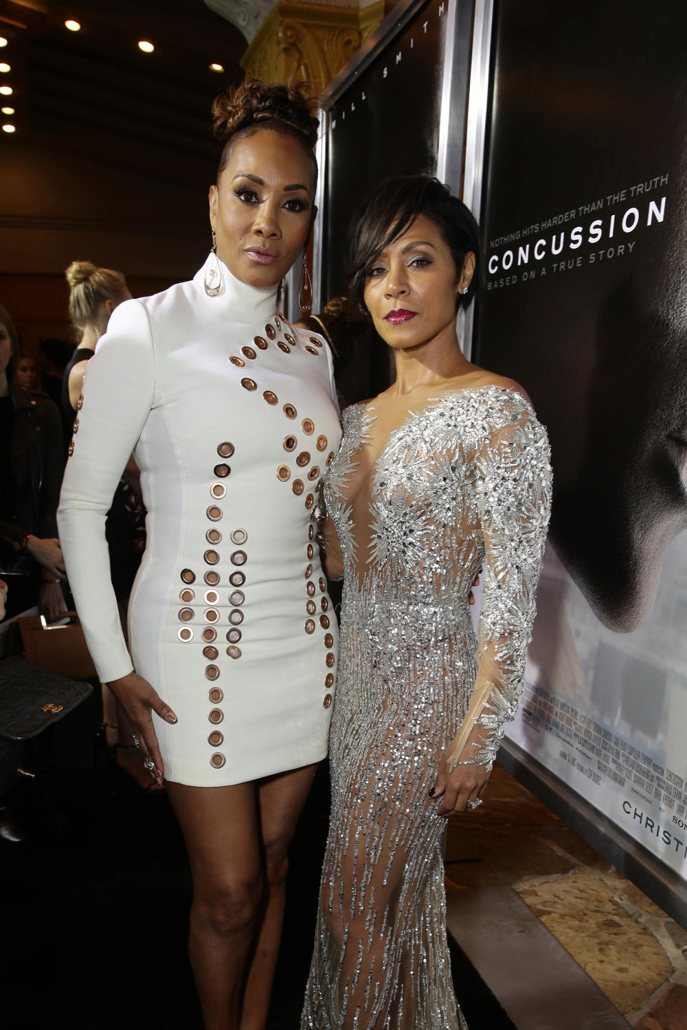 LOS ANGELES, CA- November 23, 2015. Vivica A. Fox and Jada Pinkett Smith seen at Columbia Pictures' Special Screening of CONCUSSION at Regency Village Theatre.