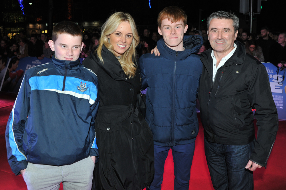 DUBLIN, IRELAND - DECEMBER 7: Alex King, Jenny McCarthy, Matthew King and weatherman Martin King attends the Dublin Premiere of 'Daddy's Home' at the Savoy Cinema on December 7, 2015 in Dublin, Ireland. (Photo by Clodagh Kilcoyne /Getty Images for Paramount Pictures)
