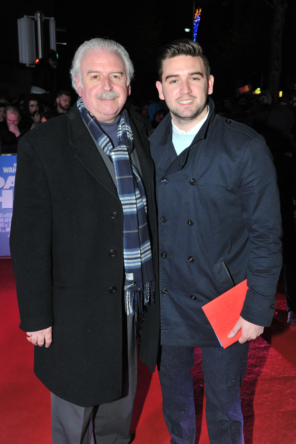 DUBLIN, IRELAND - DECEMBER 7: TV presenter Marty Whelan with his son Thomas Whelan attends the Dublin Premiere of 'Daddy's Home' at the Savoy Cinema on December 7, 2015 in Dublin, Ireland. (Photo by Clodagh Kilcoyne /Getty Images for Paramount Pictures)