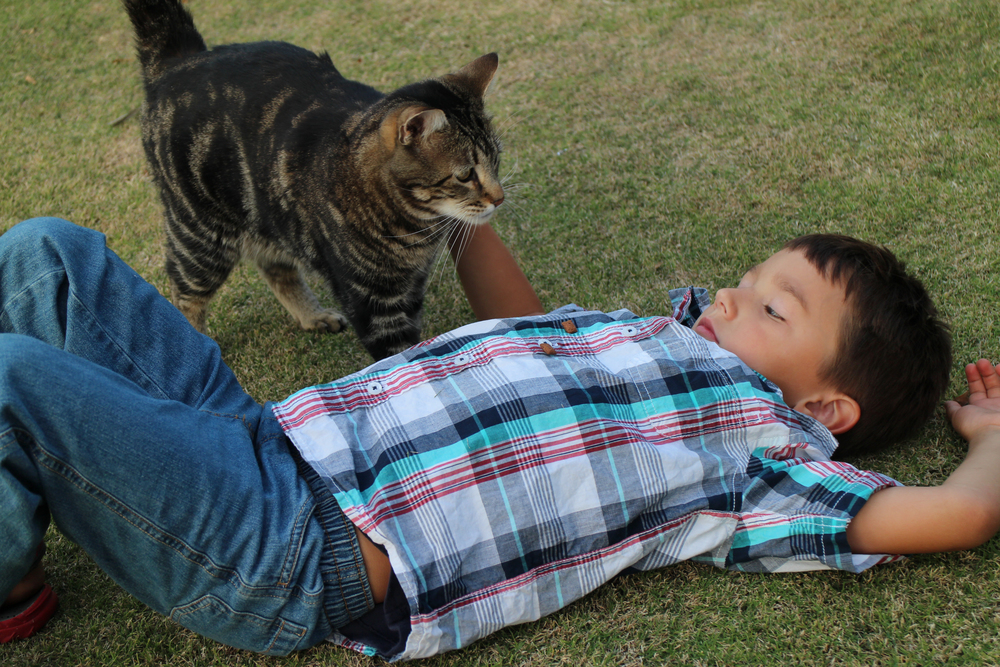 BAKERSFIELD, Calif. - Jeremy Triantafilo relaxes on the ground, enjoying the company of cat Tara, his unlikely animal friend. These two grew up together, as brother and sister, so it makes sense that Tara, the protective older sister, was there for her little brother when he was in trouble. (National Geographic Channels/Roger Triantafilo)