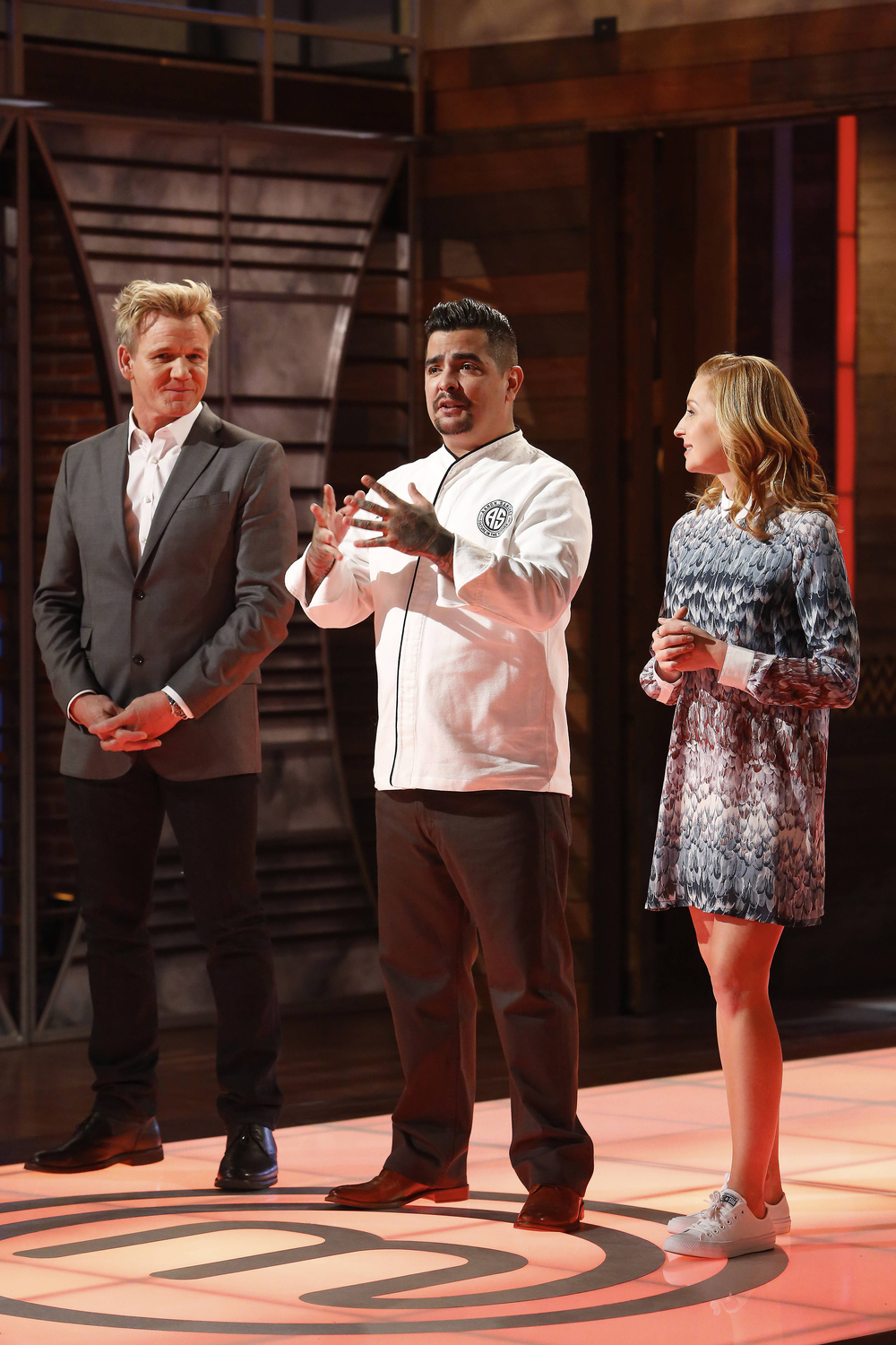 """MASTECHEF: L-R: Gordon Ramsay, Aaron Sanchez and Christina Tosi in the all-new """"Top 17 Compete"""" episode of MASTERCHEF airing Wednesday, June 29 (8:00-9:00 PM ET/PT) on FOX. Cr: Greg Gayne / FOX. © 2016 FOX Broadcasting Co."""