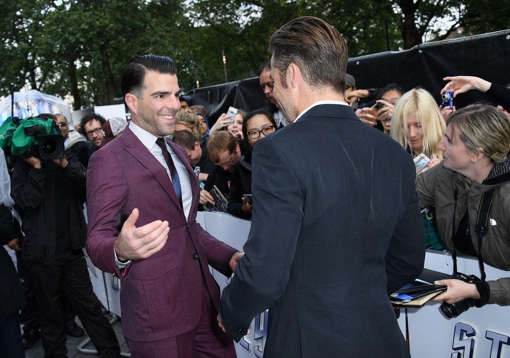 "LONDON, ENGLAND - JULY 12:  Zachary Quinto and Chris Pine attends the UK Premiere of Paramount Pictures ""Star Trek Beyond"" at the Empire Leicester Square on July 12, 2016 in London, England.  (Photo by Gareth Cattermole/Getty Images for Paramount Pictures) *** Local Caption *** Zachary Quinto;Chris Pine"