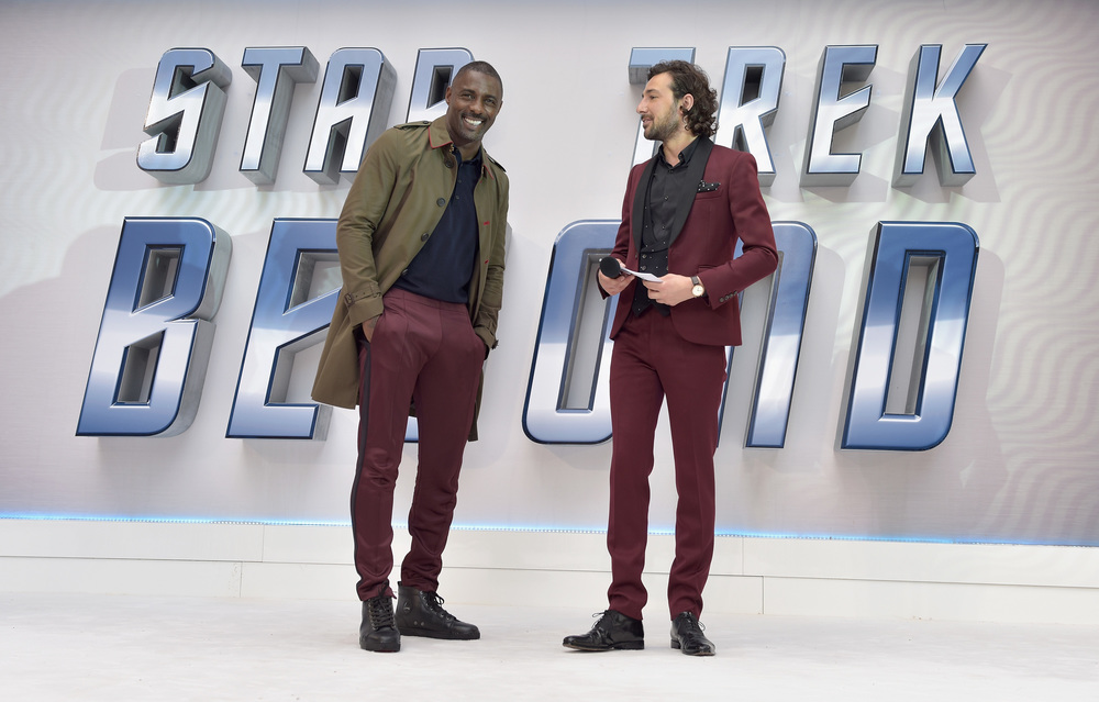 "LONDON, ENGLAND - JULY 12:  Idris Elba and host Alex Zane attends the UK Premiere of Paramount Pictures ""Star Trek Beyond"" at the Empire Leicester Square on July 12, 2016 in London, England.  (Photo by Gareth Cattermole/Getty Images for Paramount Pictures) *** Local Caption *** Idris Elba;Alex Zane"