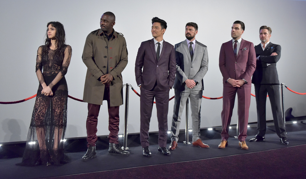 "LONDON, ENGLAND - JULY 12:  (L-R) Sofia Boutella, Idris Elba, John Cho, Karl Urban, Zachary Quinto and Chris Pine attend the UK Premiere of Paramount Pictures ""Star Trek Beyond"" at the Empire Leicester Square on July 12, 2016 in London, England.  (Photo by Gareth Cattermole/Getty Images for Paramount Pictures) *** Local Caption *** Sofia Boutella;Idris Elba;John Cho;Karl Urban;Zachary Quinto;Chris Pine"