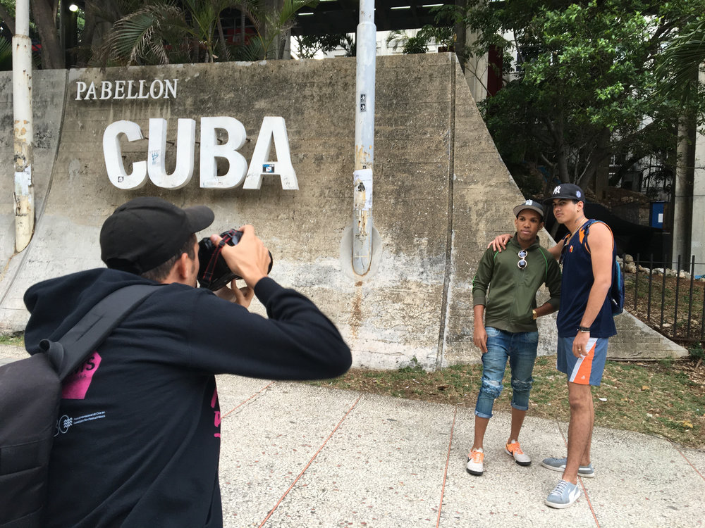 CUBA- One of the camera operator took a picture of Julián Pérez González next to the Pabellon Cuba.