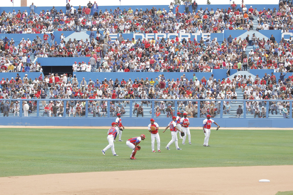CUBA- This image shows Havana's Estadio Latinoamericano full of people as they watched the Cuban National Team practice for a baseball match against Tampa Bay Rays.