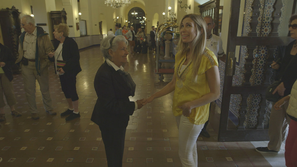CUBA- Mireya Mayor, anthropologist, greeted Estela Rivas, historical guide of the Hotel Nacional, just seconds after entering the Hotel Nacional for the first time.