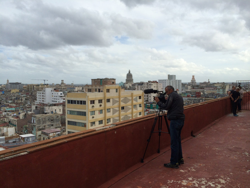 CUBA- A camera operator captured b-roll of the Cuban  skyline from a rooftop of a building.