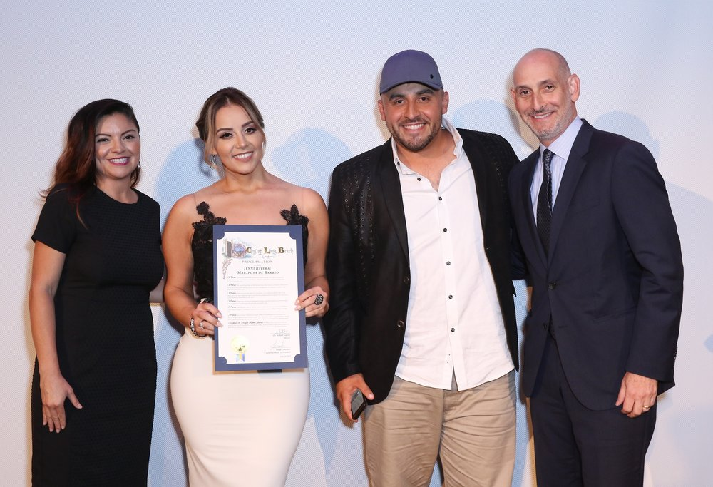 (L-R) Rosie Rivera, Juan Rivera and Luis Silberwasser, President of Telemundo Network and Universo Channel