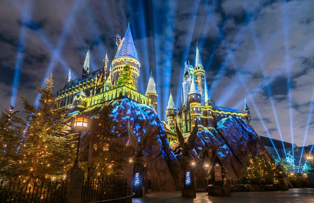 """""""The Magic of Christmas at Hogwarts Castle"""" light projection spectacular as part of """"Christmas in The Wizarding World of Harry Potter"""" at Universal Studios Hollywood."""