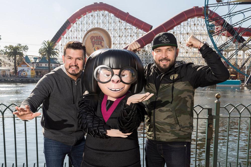 "Joel Lizarraga and brother Francisco ""Poncho"" Lizarraga with Edna Mode near Pixar Pier at Disney California Adventure Park - Disneyland Resort - 1/4/19. (Joshua Sudock/Disneyland Resort)"