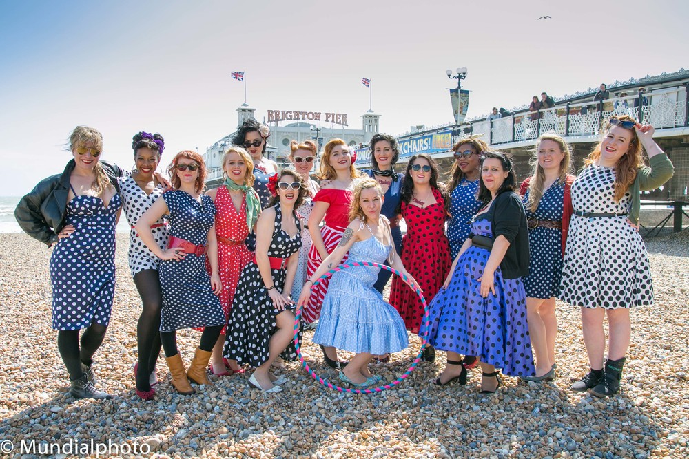 The polkadot theme of the Cheekettes Burlesque dance group was in evidence on Brighton Beach!