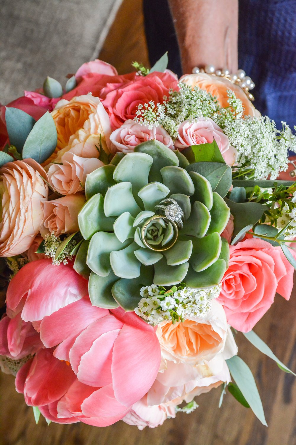 Coral Charm Peonies, Amsterdam Roses, Juliet Garden Roses, Ranunculus, Queen Anne's Lace and Succulents.  Photo by Taylor Fricks Photography.  Fairyland Club, Lookout Mountain GA