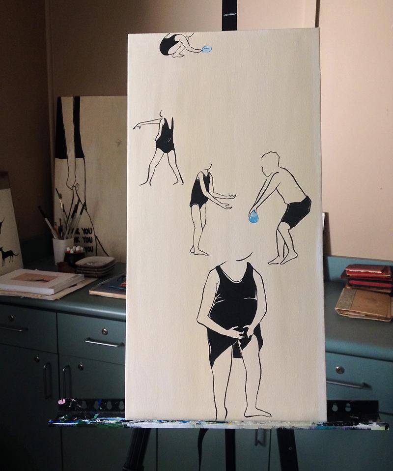 "Go Play Rikkianne Van Kirk - 2014 Acrylic and gouache on canvas Measurement – 12"" x 24"""