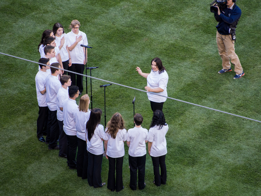 Click on picture and see VVCS ensemble sing National Anthem at Mariner's Baseball game 4/12/2014