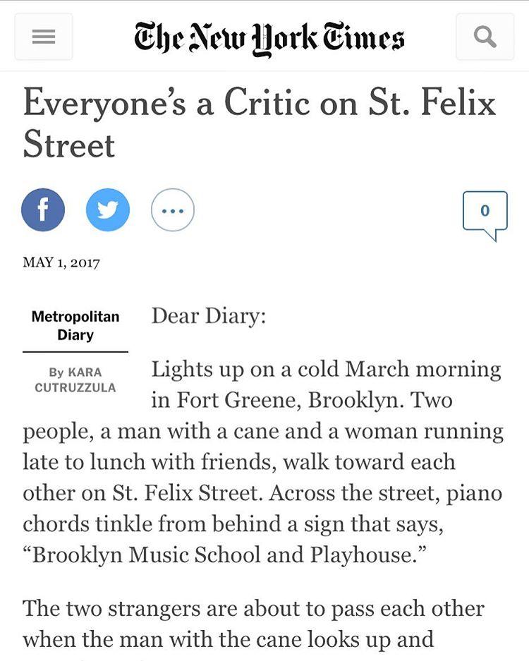 My New York Times Metro Diary — KARA CUTRUZZULA
