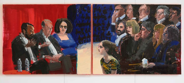 "The Panel (diptych), 48""x120"", acrylic and oil on canvas, 2017"