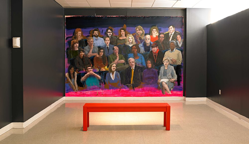 "TED Audience (installation view), 96""x144"", oil on canvas, 2015"