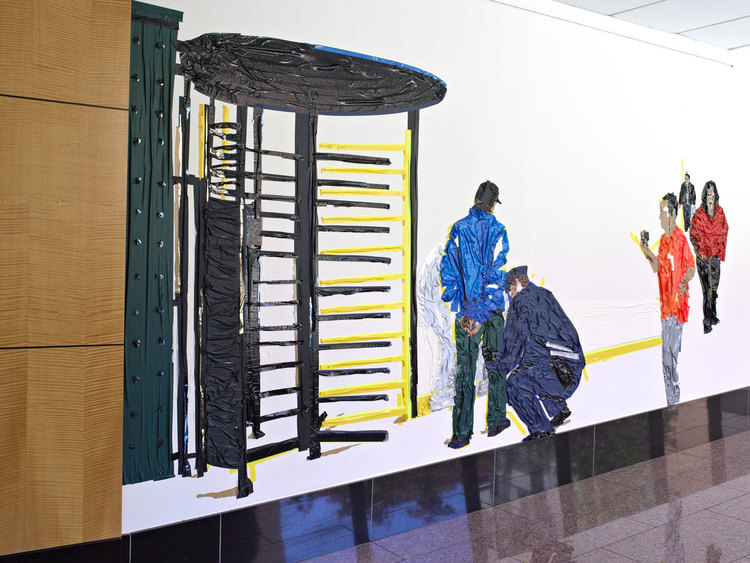 Stop and Frisk (installation view), 10'x20', tape on wall, 2013