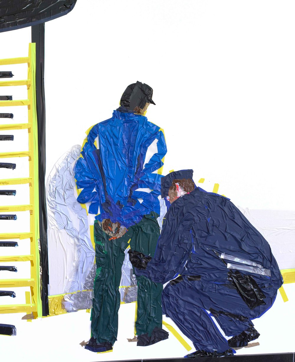 Stop and Frisk (detail), 10'x20', tape on wall, 2013