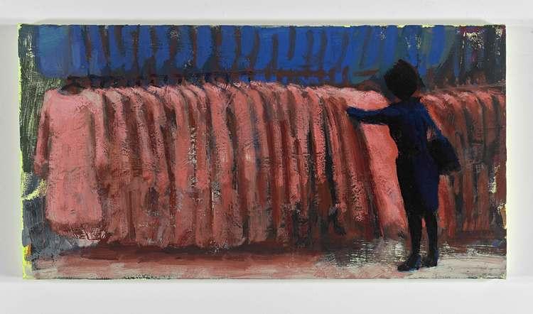 """Rack 2, 22""""x42"""" , acrylic and oil on canvas, 2015"""