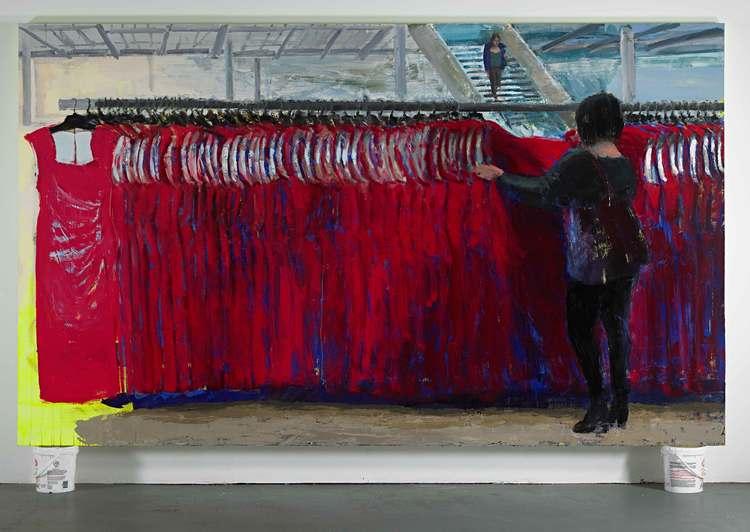 """Rack 1, 72""""x120"""", acrylic and oil on canvas, 2015"""