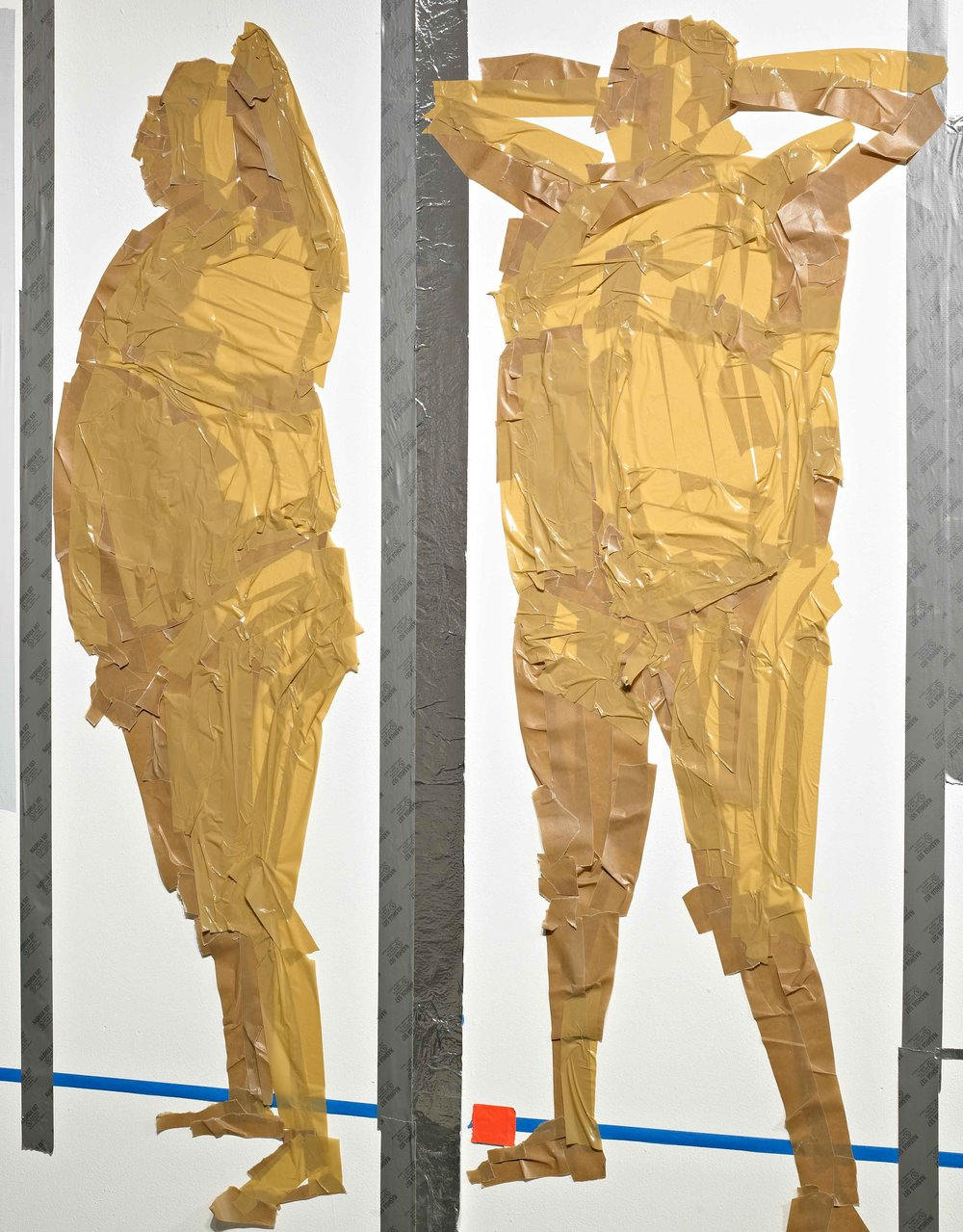 Airport In Security (detail), 8'x44', duct tape on wall, 2012