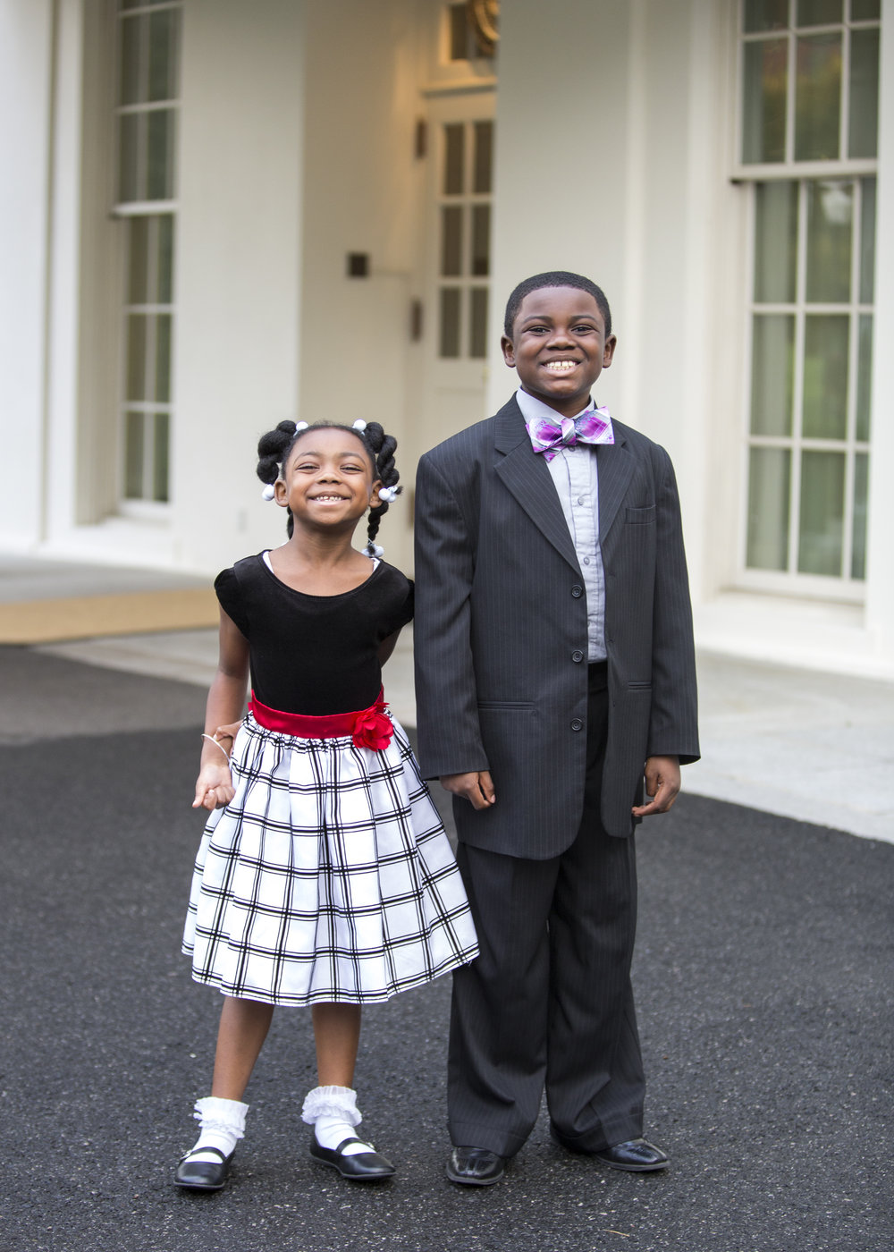 Alexis and Jacob Leggette outside the West Wing, following the first ever meeting of Kid Science Advisors.