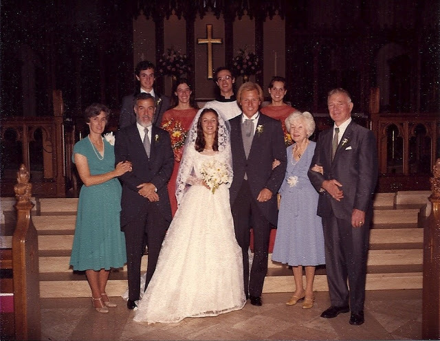 Cathy, the day she married Skip. Betsy and Sam (my grandparents) are on the left. My dad is behind them.