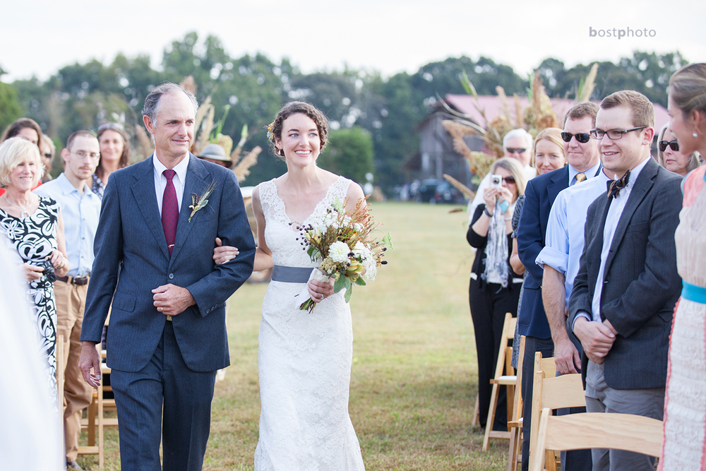 Dad and I walking down the aisle.