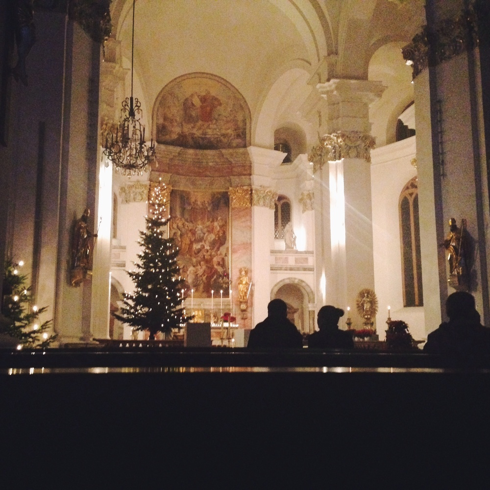 Christmas service at Jesuitenkirche.