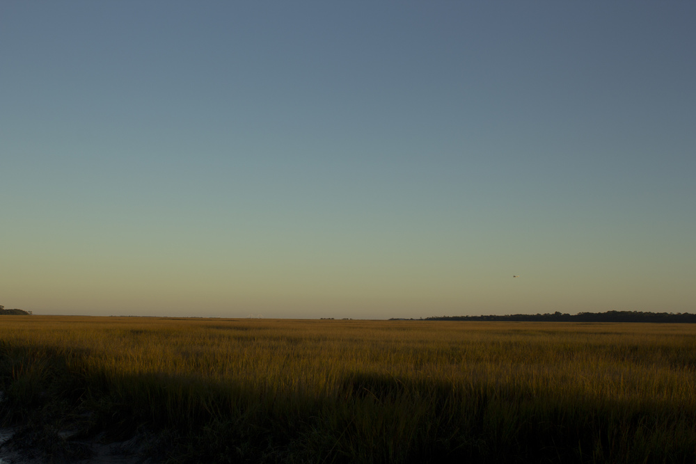 The marsh in the morning. Dad's plane is a speck over Little Cumberland.