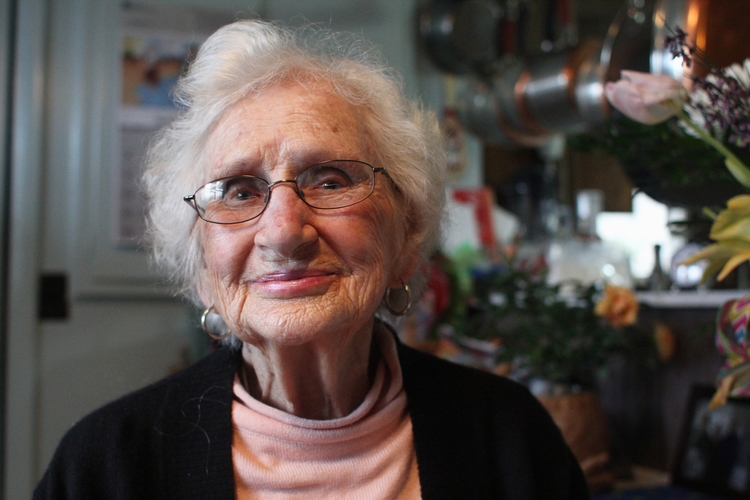 Mrs. Bertha Gonce in her home shortly after her 99th birthday.
