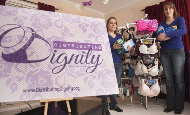 Joanie Balderstone and her partner, Rebecca McIntire     http://www.thedailyjournal.com/article/20140312/NEWS01/303110008/A-supporting-role-NJ-nonprofit-provides-bras-women-need