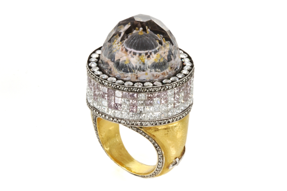 Sevan Bicacki, Sultan Mosque ring Gold, silver, diamonds, rock crystal with engraved intaglio inspired by Istanbul's Sultan Mosques.jpg