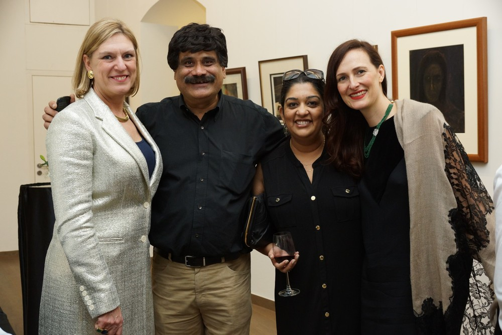 Joanna Hardy with Sanjay Kasliwal of Gem Palace, Shivika Singh, and Anna Haber of Gemfields.