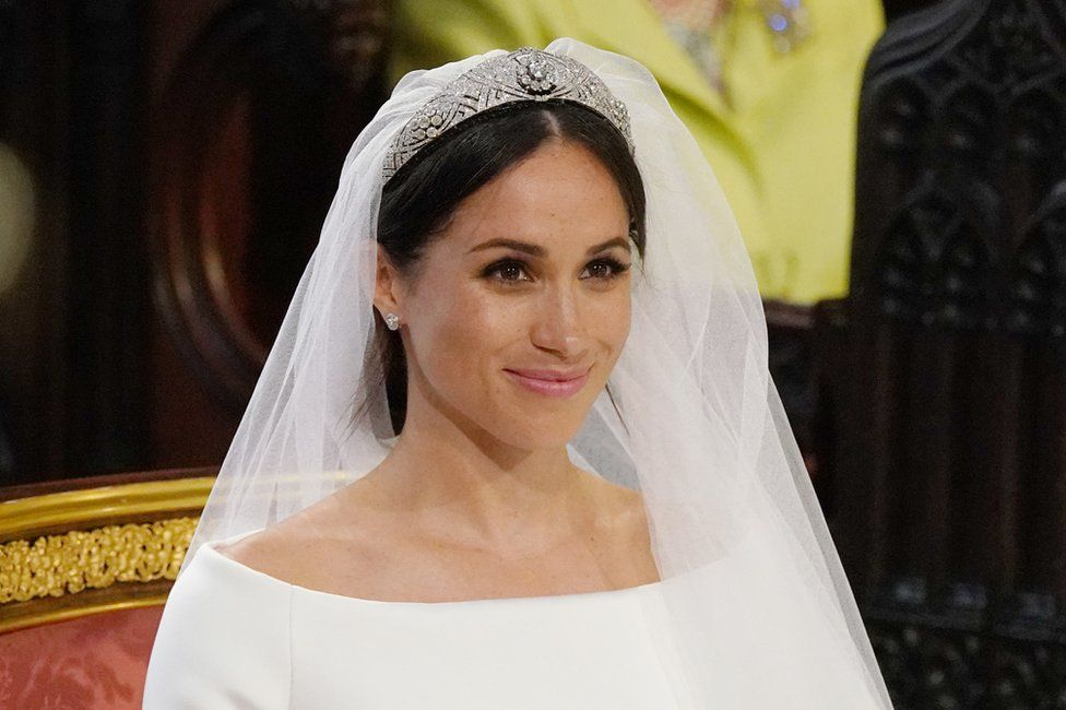 The Duchess of Sussex wearing Queen Mary's Bandeau Tiara. Image from BBC.