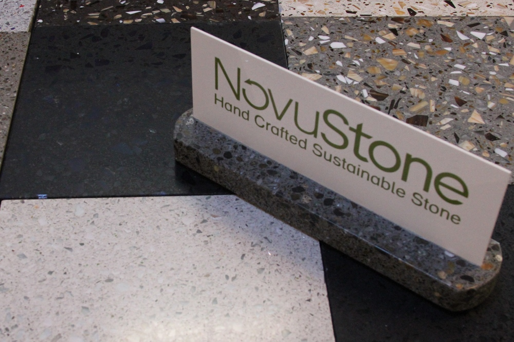 A display of NovuStone countertop material, one of the many locally sourced materials available from Greenhome Solutions.