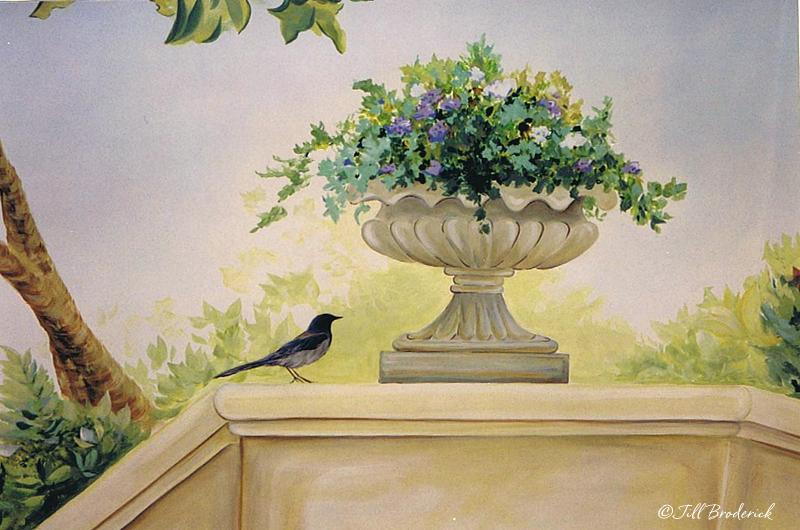 BIRD AND PLANTER - MURAL DETAIL - ACRYLIC